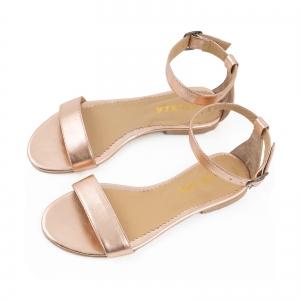 Sandale cu talpa joasa , din piele laminata auriu-roze2