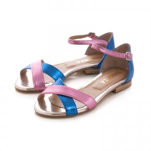 Sandale cu talpa joasa , din piele laminata roz ciclam si albastru electric2
