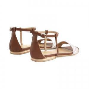 Sandale cu talpa joasa, din piele maron si piele alb/beige4