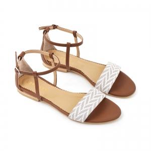 Sandale cu talpa joasa, din piele maron si piele alb/beige2