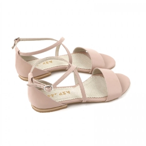Sandale cu talpa joasa, din piele naturala nude roze4