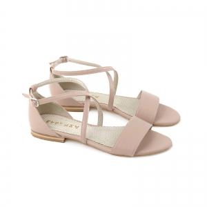 Sandale cu talpa joasa, din piele naturala nude roze1