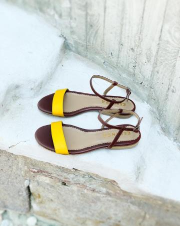 Sandale cu talpa joasa, din piele naturala maron si galben.1