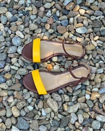 Sandale cu talpa joasa, din piele naturala maron si galben.0