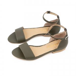 Sandale cu talpa joasa, din piele naturala verde khaki [1]