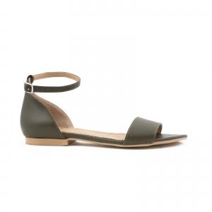 Sandale cu talpa joasa, din piele naturala verde khaki [0]