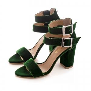 Sandale cu toc gros, din catifea verde2