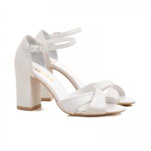 Sandale cu toc gros, din piele alba1