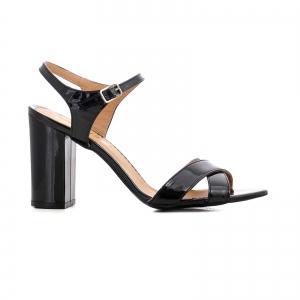 Sandale cu toc gros, din piele lacuita neagra [0]