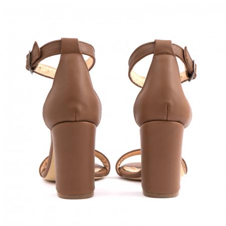 Sandale cu toc gros, din piele naturala maron [4]