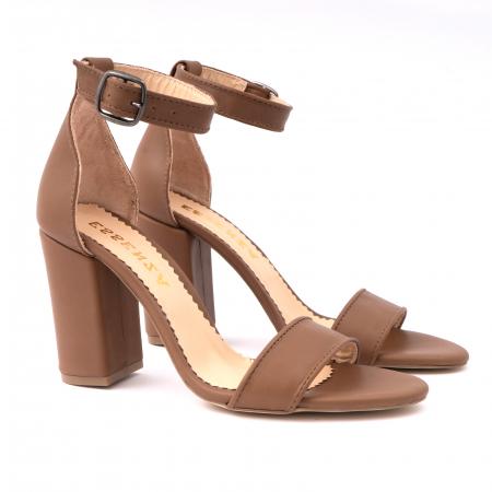Sandale cu toc gros, din piele naturala maron [2]