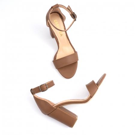 Sandale cu toc gros, din piele naturala maron [3]