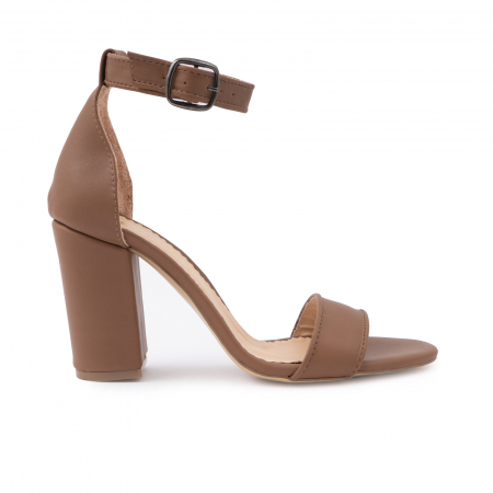 Sandale cu toc gros, din piele naturala maron [0]