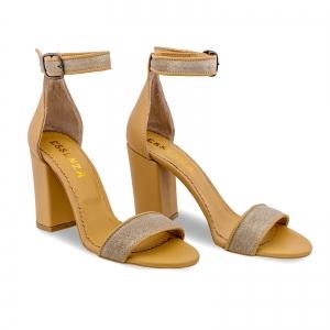 Sandale cu toc gros, din piele naturala nude si piele glitter1