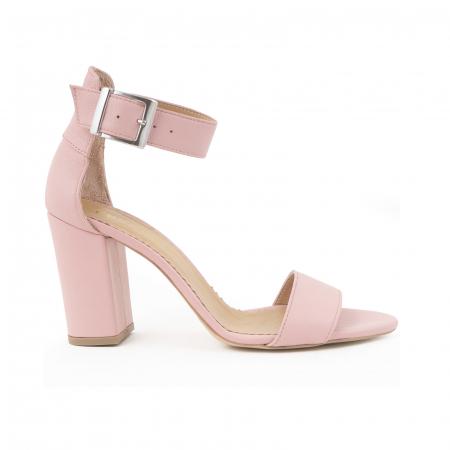 Sandale cu toc gros, din piele naturala roz0