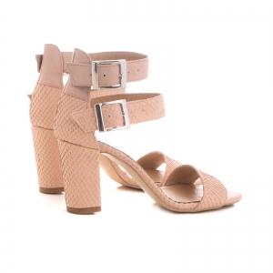 Sandale cu toc gros, din piele roz cu textura de piele de sarpe, si piele nude roze [2]