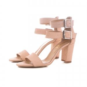 Sandale cu toc gros, din piele roz cu textura de piele de sarpe, si piele nude roze [1]