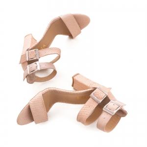Sandale cu toc gros, din piele roz cu textura de piele de sarpe, si piele nude roze [3]