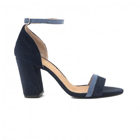Sandale cu toc patrat, din piele intoarsa albastru inchis si albastru deschis0