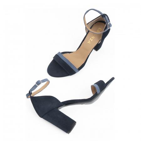 Sandale cu toc patrat, din piele intoarsa albastru inchis si albastru deschis2