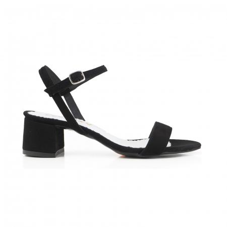 Sandale cu toc patrat, din piele intoarsa neagra0