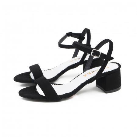 Sandale cu toc patrat, din piele intoarsa neagra1