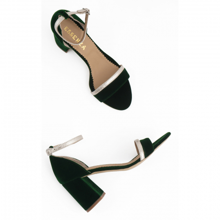 Sandale cu toc patrat, din piele laminata argintie si catifea verde2