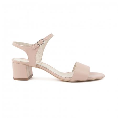 Sandale cu toc patrat, din piele naturala nude rose [0]
