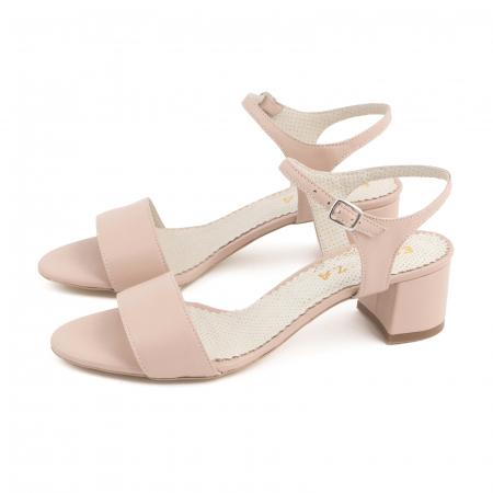 Sandale cu toc patrat, din piele naturala nude rose [1]