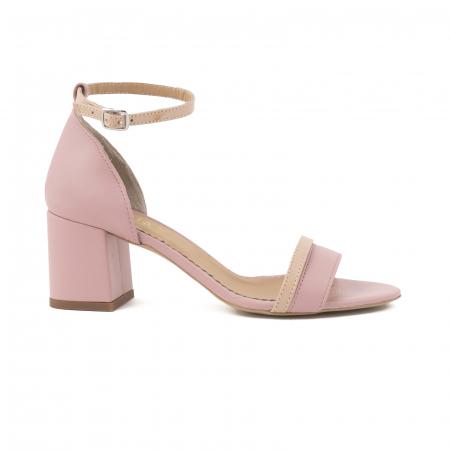 Sandale cu toc patrat, din piele naturala roz si nude rose [0]