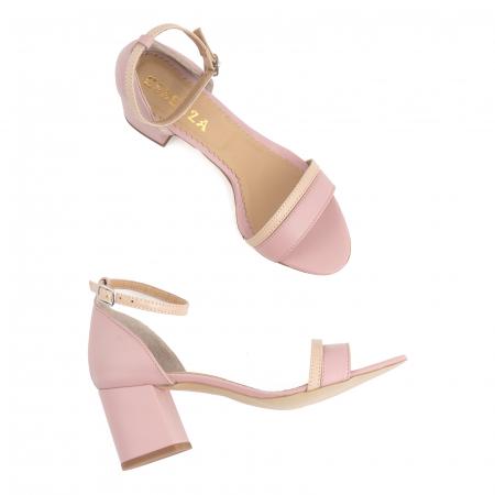 Sandale cu toc patrat, din piele naturala roz si nude rose [2]
