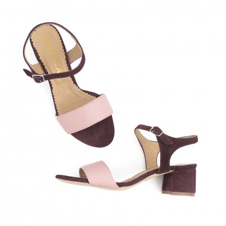 Sandale cu toc patrat, din piele naturala roz si piele intoarsa mov [2]