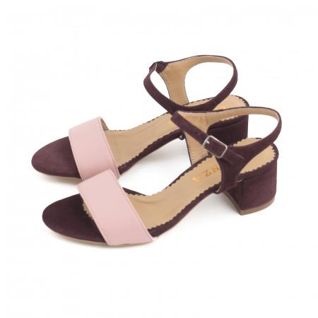 Sandale cu toc patrat, din piele naturala roz si piele intoarsa mov [1]