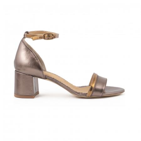 Sandale cu toc patrat, din piele sidefata bronz si piele laminata aurie [0]