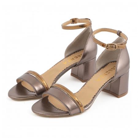 Sandale cu toc patrat, din piele sidefata bronz si piele laminata aurie [1]