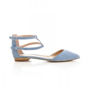 Sandale cu varf ascutit , albastru -seren0