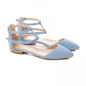 Sandale cu varf ascutit , albastru -seren1