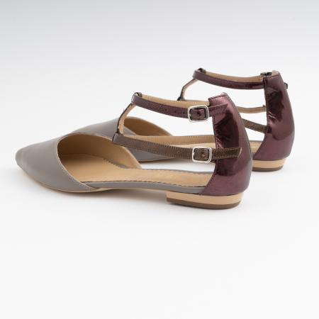 Sandale cu varf ascutit , din piele naturala grej si piele lacuita visinie [3]