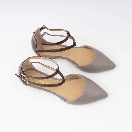 Sandale cu varf ascutit , din piele naturala grej si piele lacuita visinie [2]