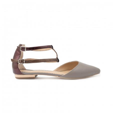 Sandale cu varf ascutit , din piele naturala grej si piele lacuita visinie [0]