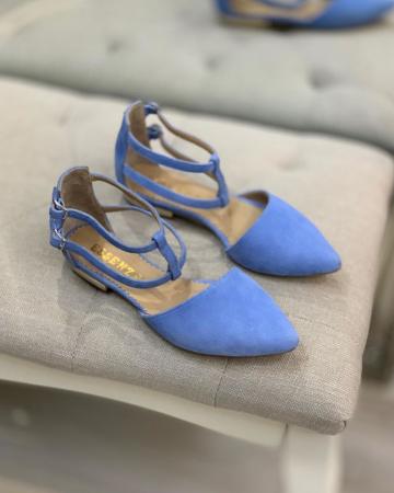 Sandale cu varf ascutit , din piele naturala intoarsa albastru-seren2