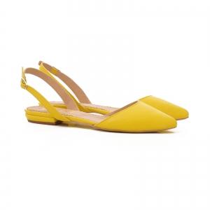 Sandale cu varf ascutit , galben lamaie1