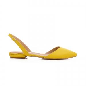 Sandale cu varf ascutit , galben lamaie0