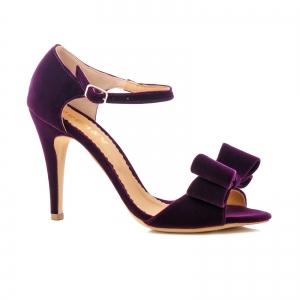 Sandale din catifea mov, cu funde [0]