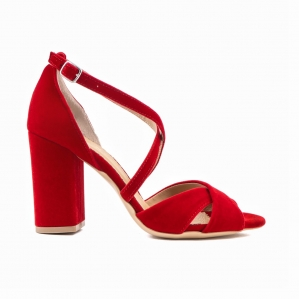 Sandale din catifea, rosu aprins0