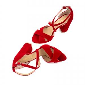 Sandale din catifea, rosu aprins2