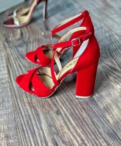 Sandale din catifea, rosu aprins [3]