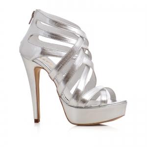 Sandale din piele argintie0