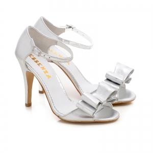 Sandale din piele argintie, cu funde1