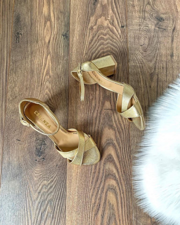 Sandale din piele aurie, cu toc gros2